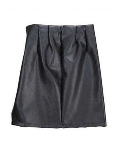 Black High Waist Zipper Split PU Leather Skirt
