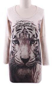 Apricot Perals Beading Tiger Pattern Lightweight Sweater