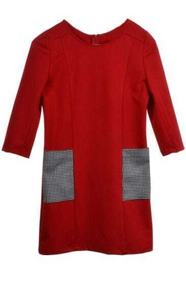 Red Stitching Houndstooth Pocket Dress