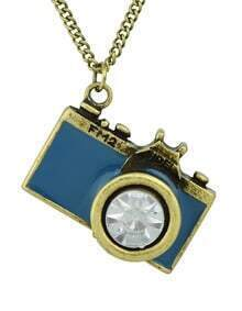 New Arrival Individual Vintage Blue Camera Necklace