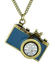 Blue Camera Pendant Necklace