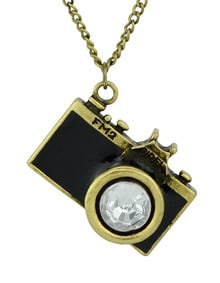 New Arrival Individual Vintage Black Camera Necklace