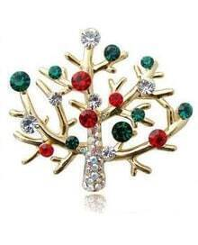 Lovely Sparkling Rhinestone Christmas Tree Brooch