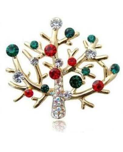 Lovely Sparkling Rhinestone Christmas Tree Brooch