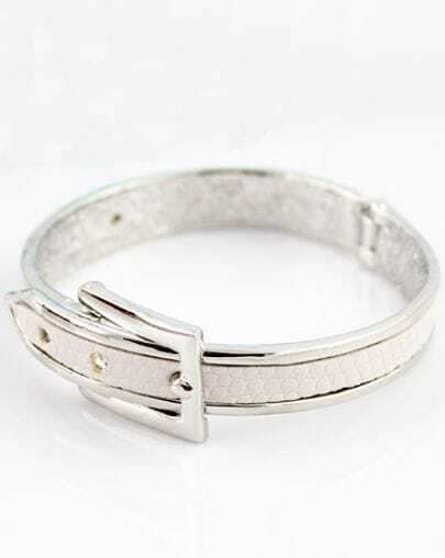 White Belt Buckle Silver Bracelet