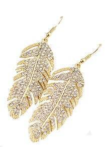 Bridal Rhinestone Leaf Gold Antique Earring