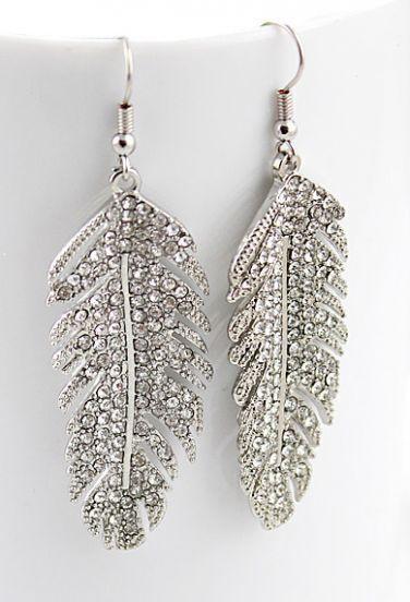 Bridal Rhinestone Leaf Silver Antique Earring