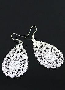 Silver Hollow Out Drop Earring