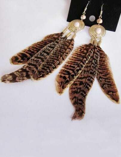 Elegant Stone Leopard Feather Earring