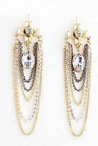 Chain Cross Crystal And Geometry Alloy Earring