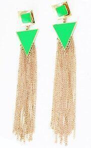 Shine Green Trangle And Square Long Tassels Drop Earrings