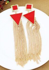 Shine Red Trangle And Square Long Tassels Drop Earrings