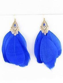 Vintage Star Favorite Distinctive Blue Feather Earrings