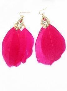 Vintage Star Favorite Distinctive Red Feather Earrings