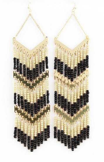 Fashion Alloy Bead Tassel Earrings