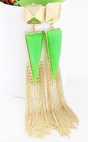 Green Rhinestone Colour Tassel Triangle Earrings