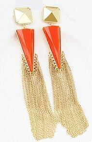 Red Rhinestone Colour Tassel Triangle Earrings