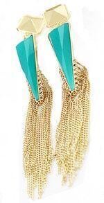 Blue Rhinestone Colour Tassel Triangle Earrings