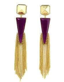 Purple Rhinestone Colour Tassel Triangle Earrings