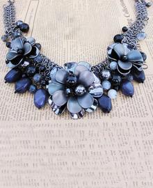 Alloy Rhinestone Bead Flower Chunky Purple Collar Necklace
