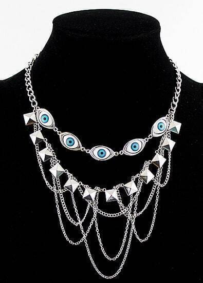 Silver Pyramid Chain Eyes Necklace