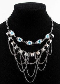 Vintage Silver Pyramid Chain Eyes Necklace
