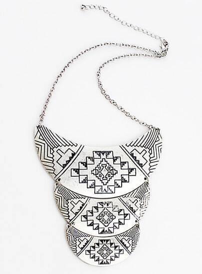 Silver Vintage Multilayer Collar Necklace