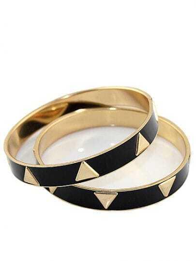 Elegant Alloy Black Enamel Bracelets