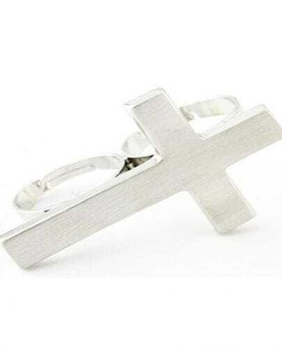 Beautiful The Cross Double Finger Ring