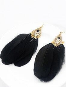 Vintage Star Favorite Distinctive Black Feather Earrings