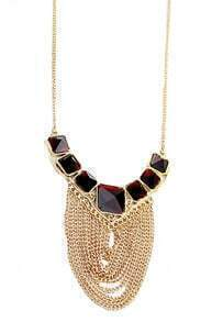 Fashion Zinc Alloy Tassel Spark Ruby Crystal Statement Necklace
