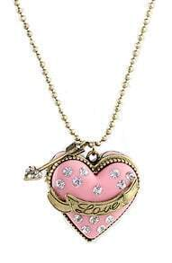 Pink Box Heart Crystal Openable Rhinestone Designs Pendant Necklace