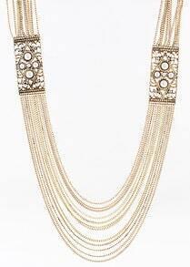Multilayers Imitation Bead Luxury Design Alloy Necklace