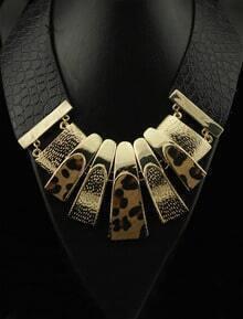 Retro Chunky Leopard Leather Choker Bib Necklace