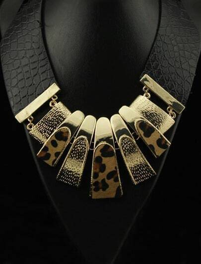 Retro Chunky Leopard Leather Choker Bib Necklace