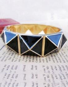 Enamel Alloy Punk Style Black Spike Bracelet