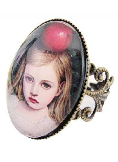 Gothic Sweet Apple Girl Design Alloy Ring