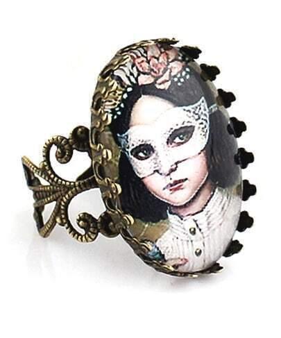 Gothic Mask Girl Design Alloy Ring