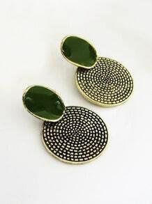 Green Gemstone Round Stud Earrings