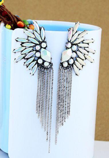 Fashion Jewelry Rhinestone Silver Tassel Earring