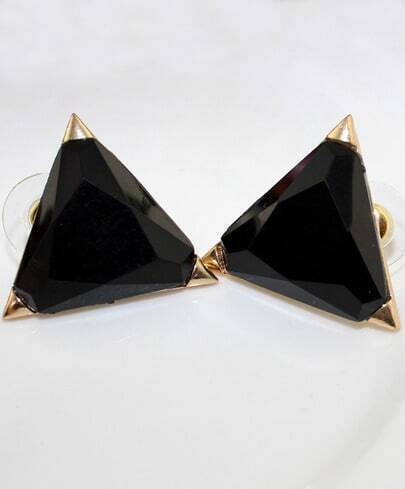 Fashion Stud Style Black Triangle Earring