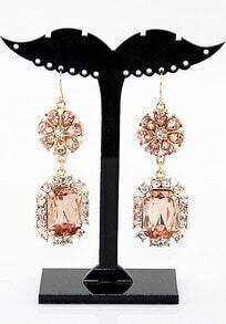 Red Crystal Flowers Dangle Earrings