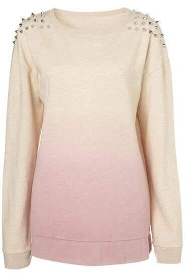 Pink Gradient Rivet Shoulder Round Neck Sweatshirt