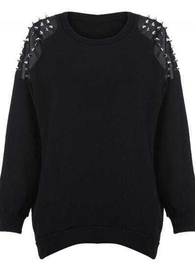 Black Rivet Embellished Shoulder Round Neck Pullover