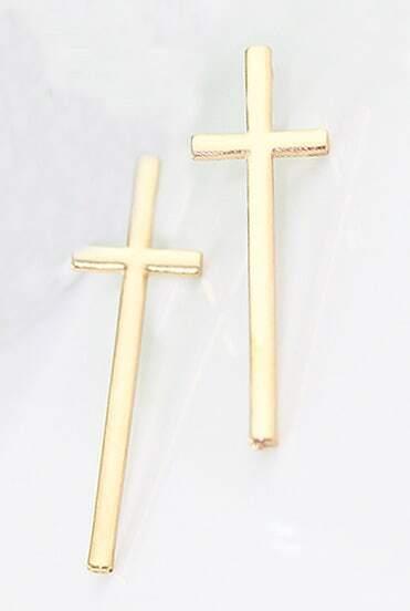 Gold Lovely Vintage Cross Crucifix Earrings