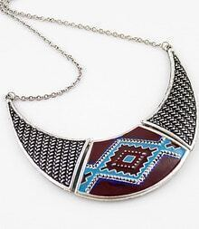 Silver Geometric Pattern Collar Necklace