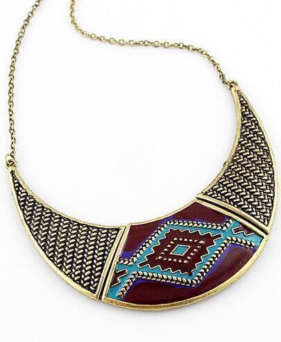 Gold Geometric Pattern Collar Necklace