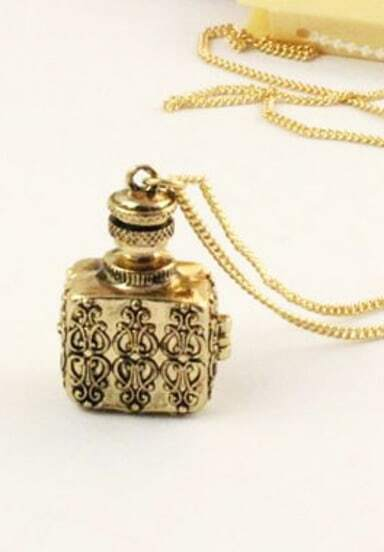 Vintage Openable Carved Bottle Pendant Necklace