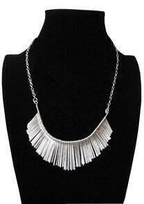 Tinsel Tassel Design Alloy Silver Collar Necklace