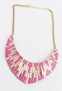 Pink Shining Bib Collar Necklace